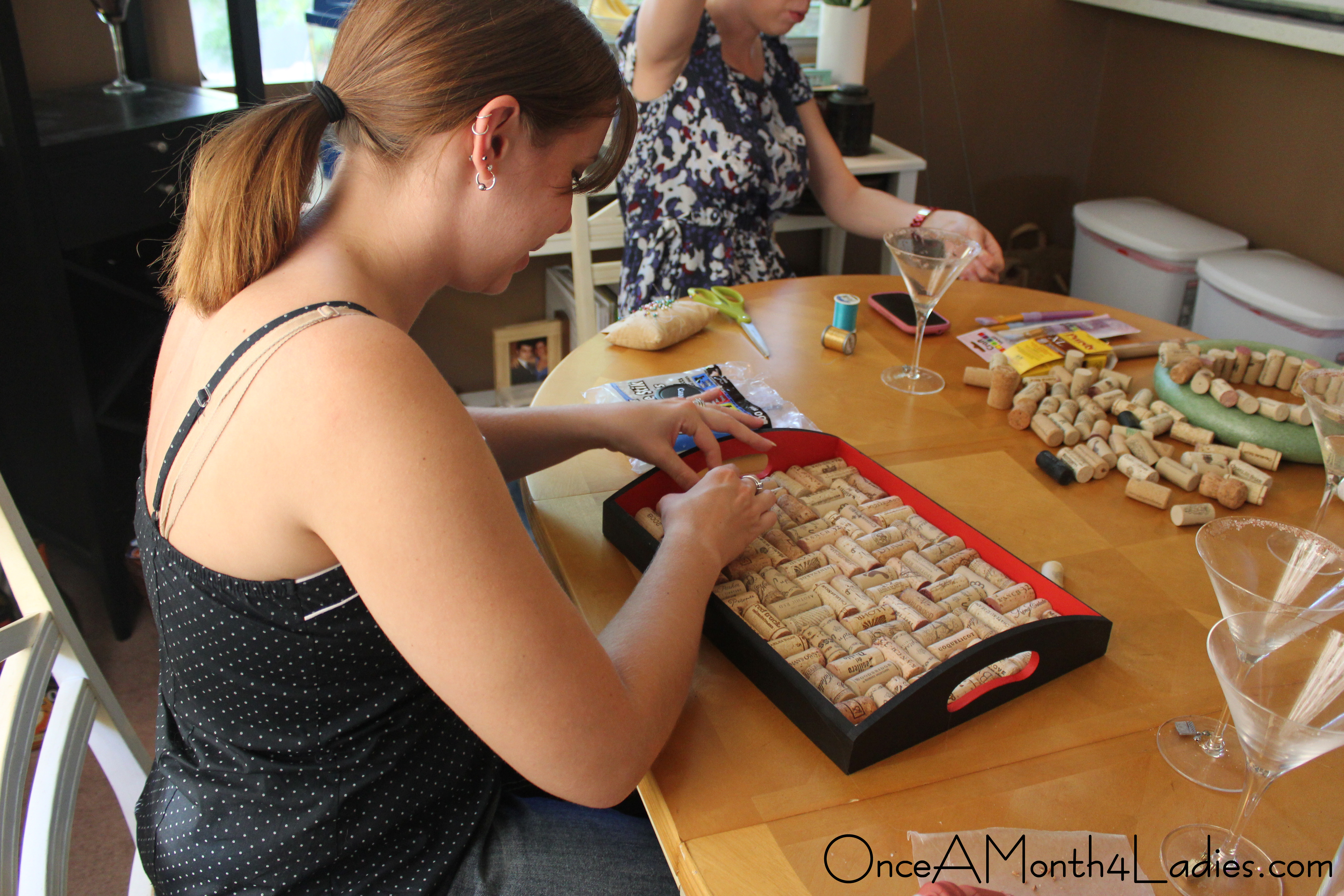 Wine Cork Bar Tray Once A Month 4 Ladies