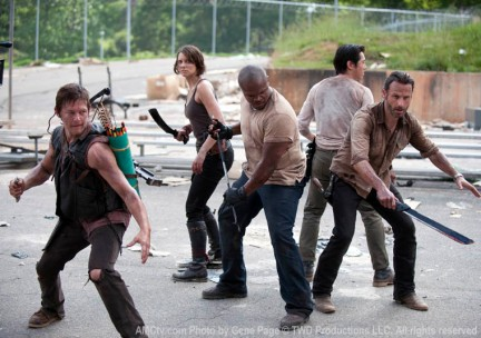 Daryl, Maggie, T-dog, Glen and Rick take on a swarm Courtesy of AMCtv.com