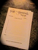 Fox and Hounds Trivia Sheet