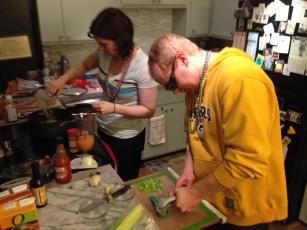 Prepping jambalaya
